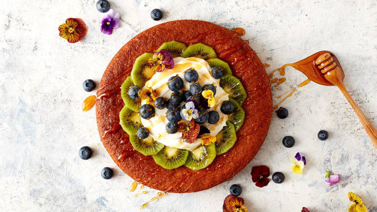 Image: Honey soaked cornbread with fruit
