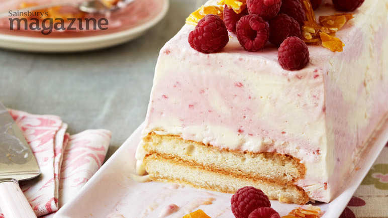 Frozen raspberry trifle terrine