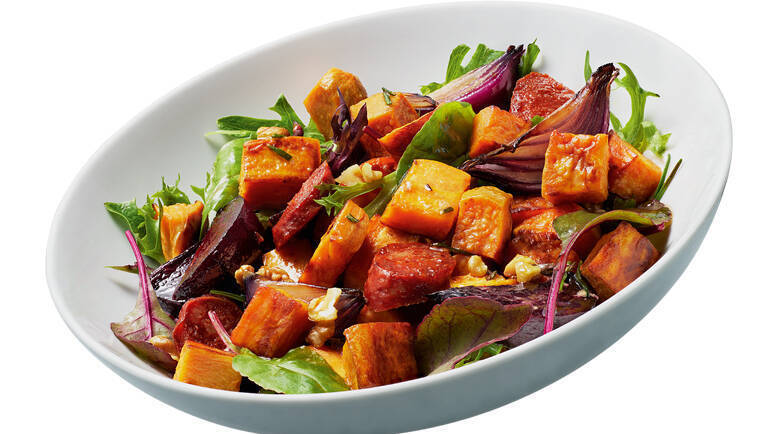 Image: Sweet potato, beetroot and chorizo salad