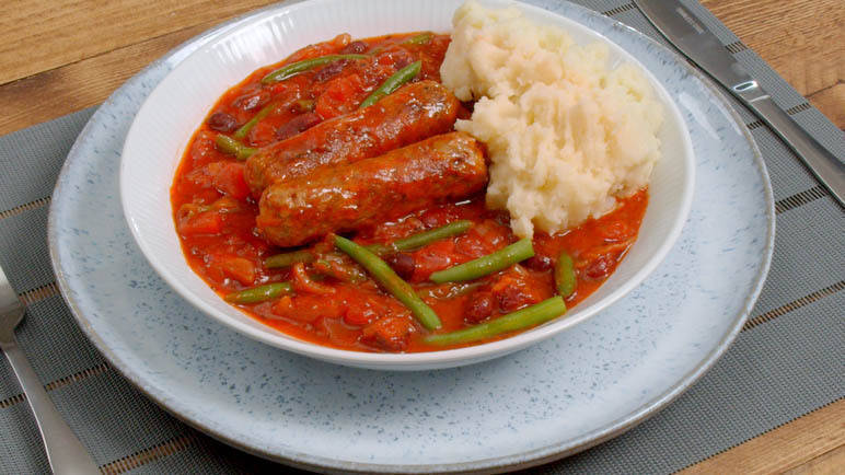 Image: Beany sausage hotpot with mash