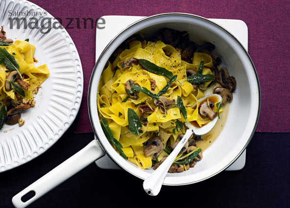 Pappardelle with mushroom ragu and crispy sage