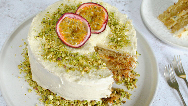 Image: Vegan passionfruit, pistachio and lime layer cake