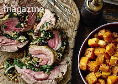 Roast shoulder of lamb with moroccan-spiced spinach stuffing image