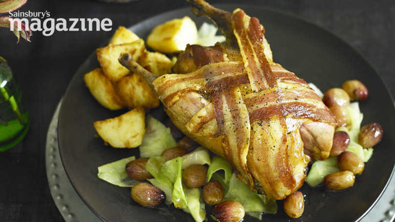 Roast pheasant with grapes and sweetheart cabbage