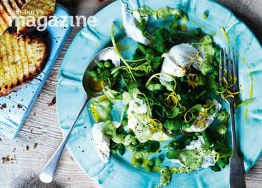 Buffalo mozzarella and pea salad