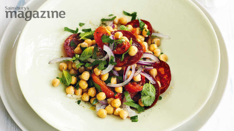 Warm chorizo and chickpea salad image