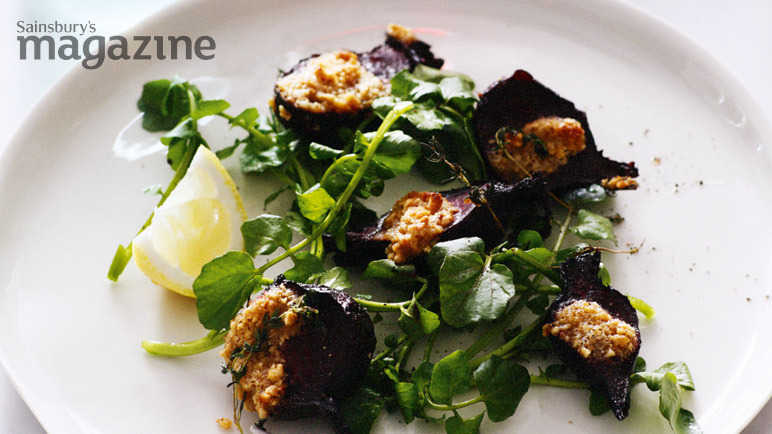 Roast beetroot with hazelnut butter and watercress