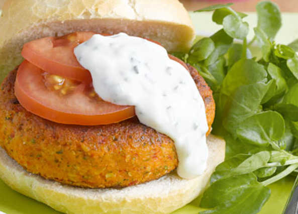 Red pepper & chickpea burger image
