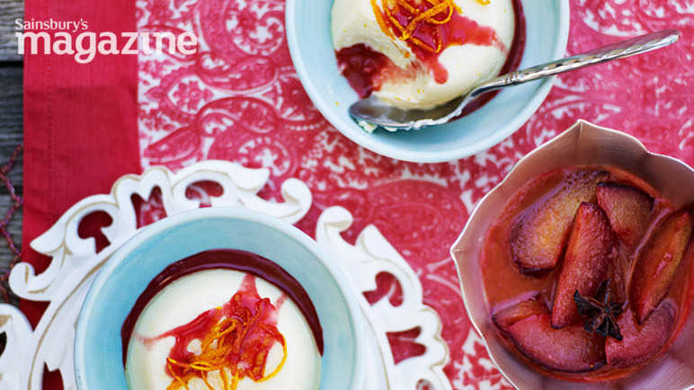 Buttermilk panna cottas with roasted star anise plums