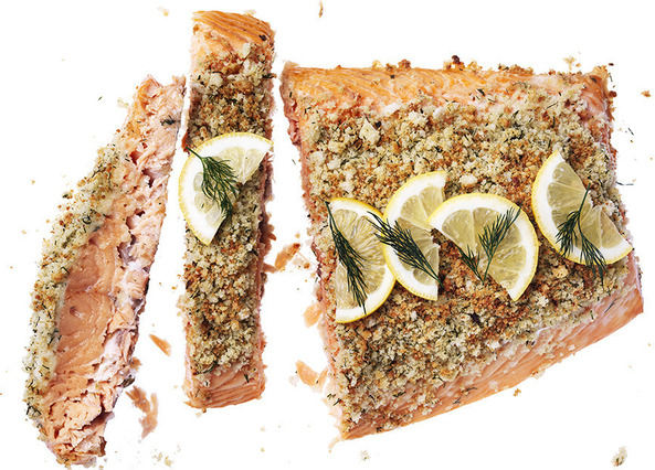 Side of salmon with a dill crus image