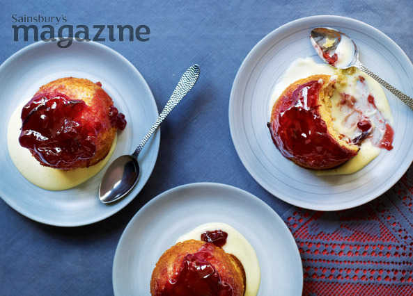 Apple, orange and damson sponge puddings