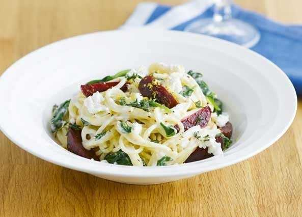 Spaghetti with beetroot and spinach image