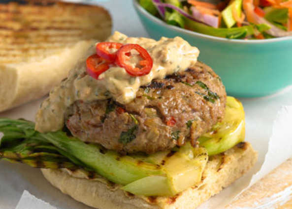 Asian turkey burgers with spicy sla image