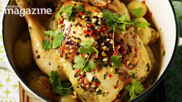 Pot-roast chicken with chilli and coconut