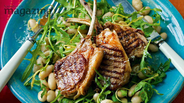 Lamb cutlets with cannellini beans and parmesan dressing