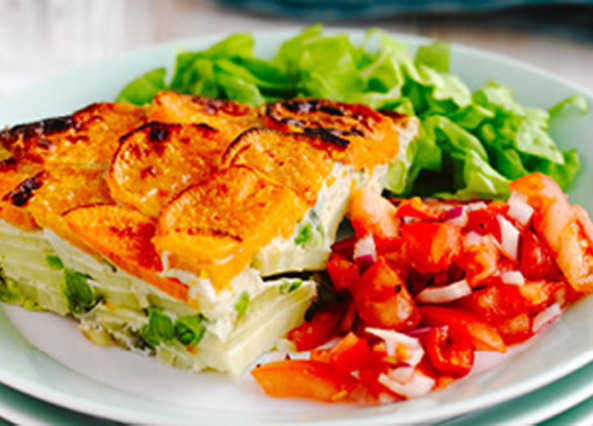 Sweet potato frittata with a tomato sals image