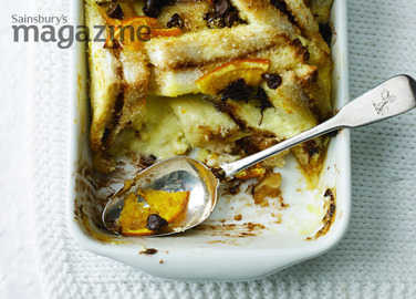 Orange choc chip bread and butter pudding