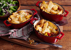 Mexican bean hotpots topped with cheesy wedges image