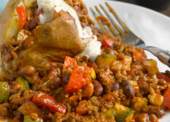 Mixed bean and beef chilli with jacket potatoe image