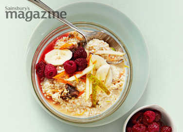 Fig, pear, banana and berry bircher muesli