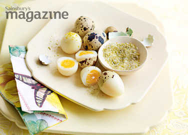 Quails' eggs with homemade celery salt image