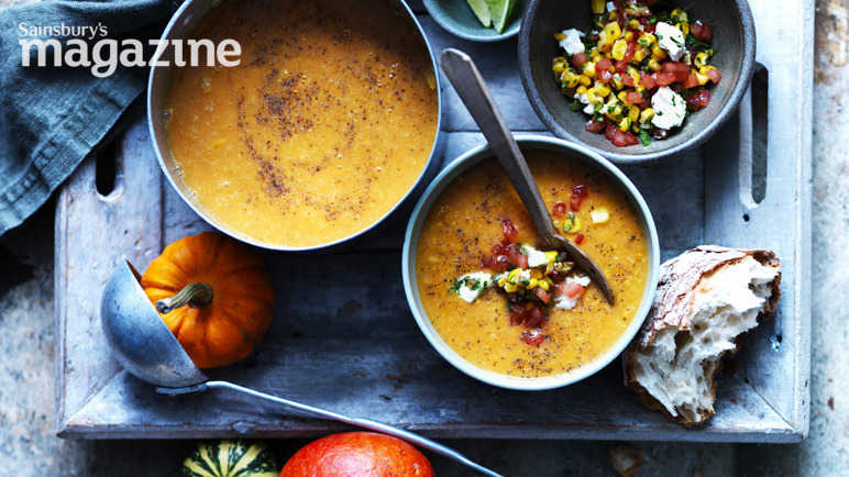 Pumpkin soup with tomato, corn and coriander salsa