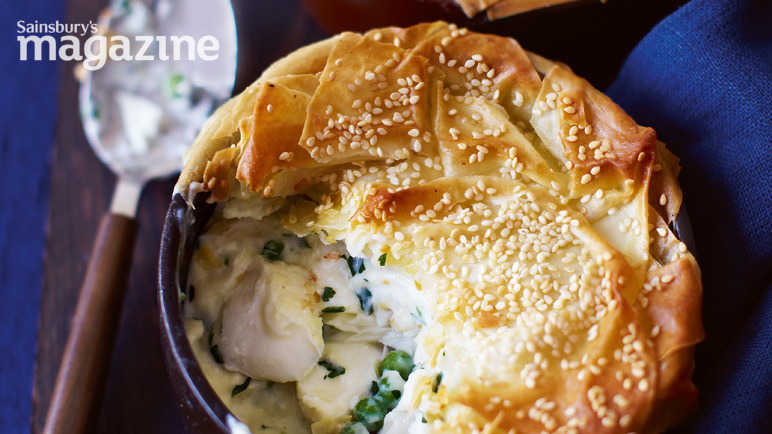 'skinny' fish, pea and parsley pies with sesame pastry