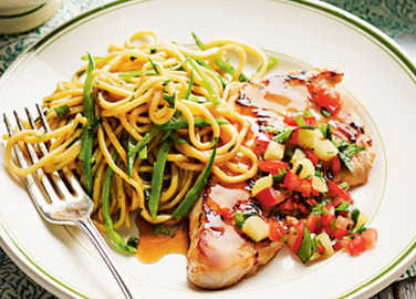 Asian-style turkey steaks with pineapple salsa image