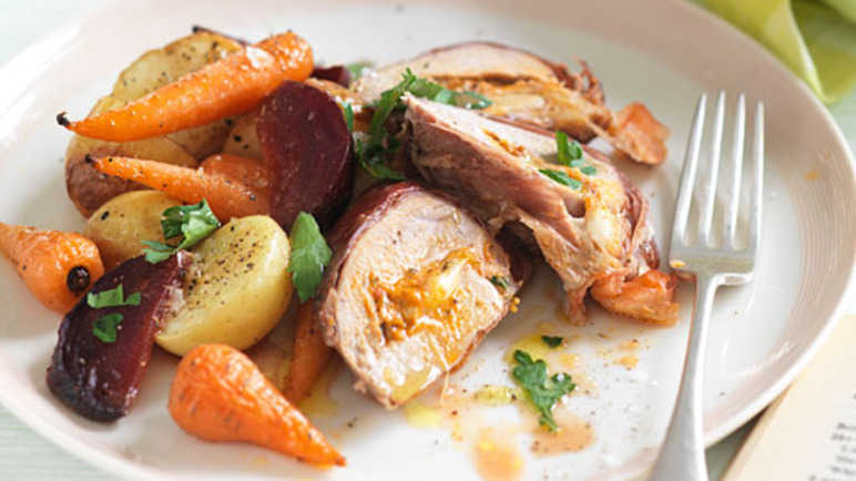 Pork loin with roasted seasonal vegetable image