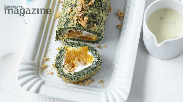 Spinach and butternut squash roulade