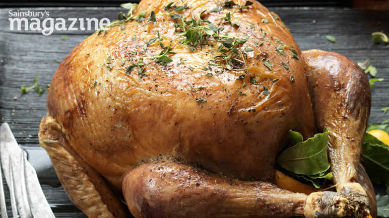 Classic roast turkey with chestnut stuffing balls