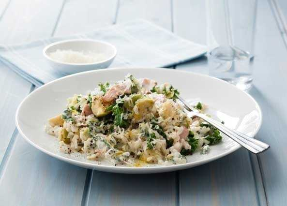 Baked bacon and leek winter risotto