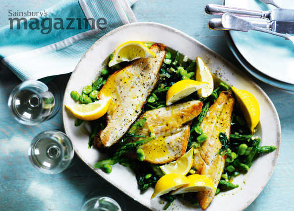 Sea bass with asparagus, broad beans and spinach