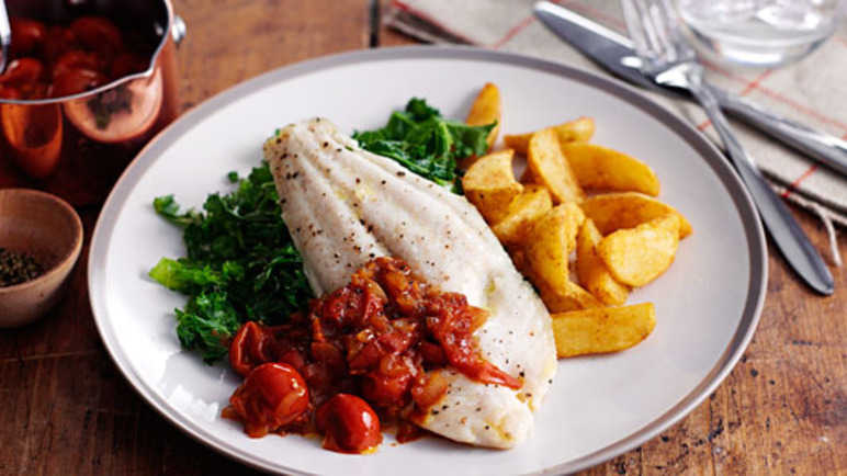 River cobbler fillets with a cherry tomato sauc image