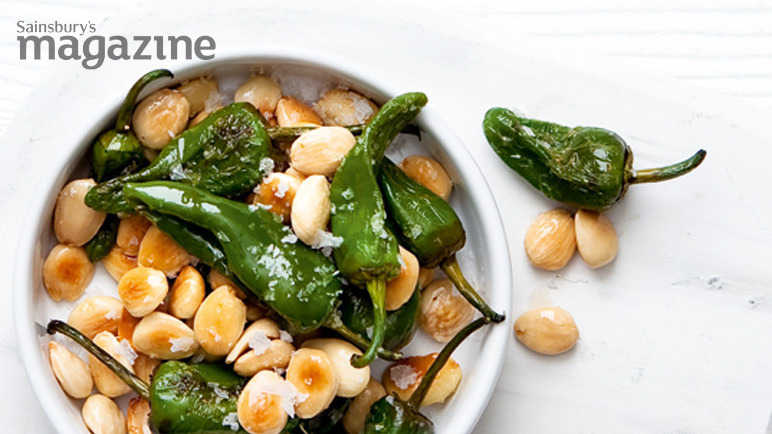 Padron peppers and almond image