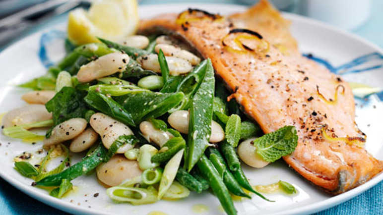 Zesty trout with warm bean sala image