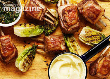 Rack of lamb with salsa verde, grilled little gems and baked-potato mash