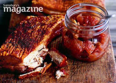 Roast pork belly with apple, sour cherry and fennel chutney