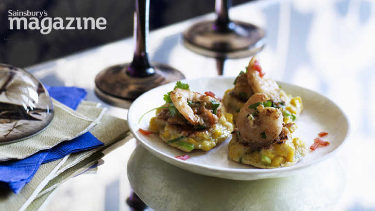 Corn fritters with prawn, coconut, peanut and chilli samba