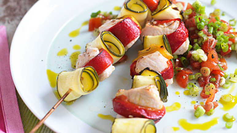 Lemon and garlic turkey skewer image