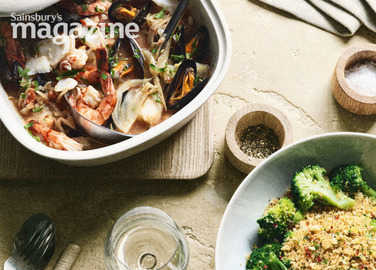 Southern italian fish stew with broccoli pangrattat image