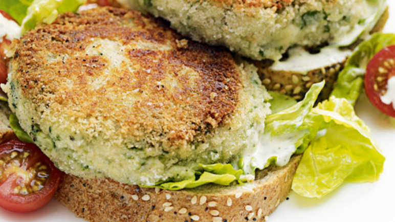 Cheddar, bean & spinach burgers with a sweet baby gem sala image