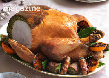 Roast turkey with herb and pistachio stuffing