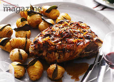 Cumberland-glazed roast lamb shoulder