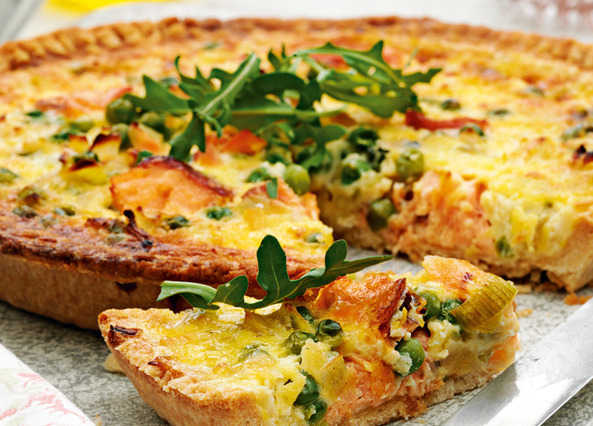 Smoked trout, leek and pea quiche