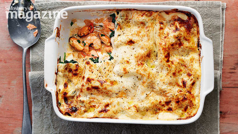 Luxury seafood lasagne