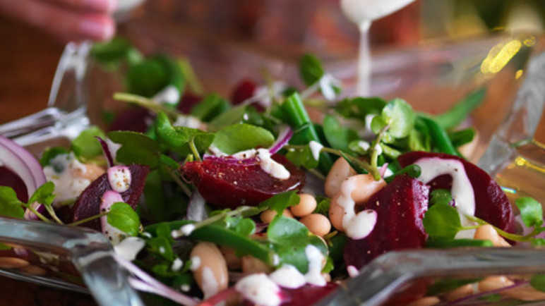 Watercress, bean and beetroot salad