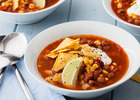 Tortilla soup with chipotle, beans and sweetcor image