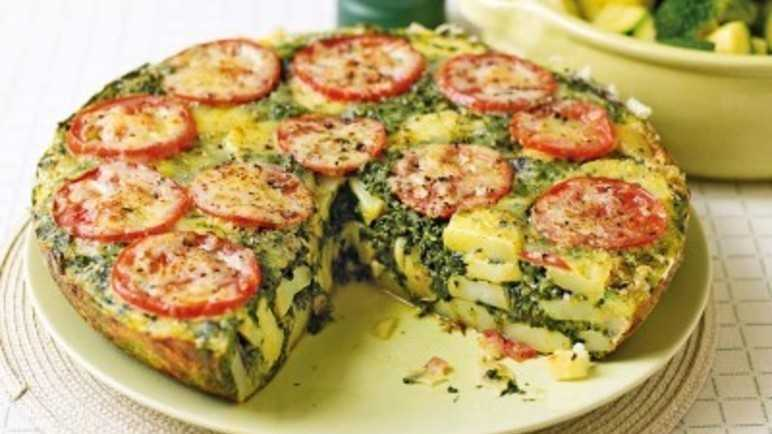 Tomato, spinach & red onion frittat image
