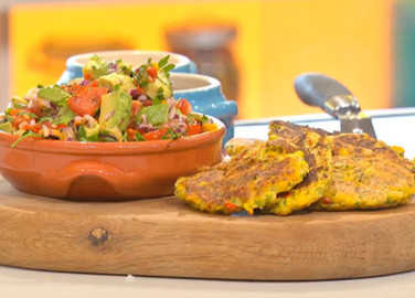 Sweetcorn cakes with avocado sals image